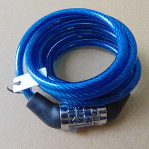 Велозамок трос Ø 10х1800 мм сменный код (4 цвета) 218